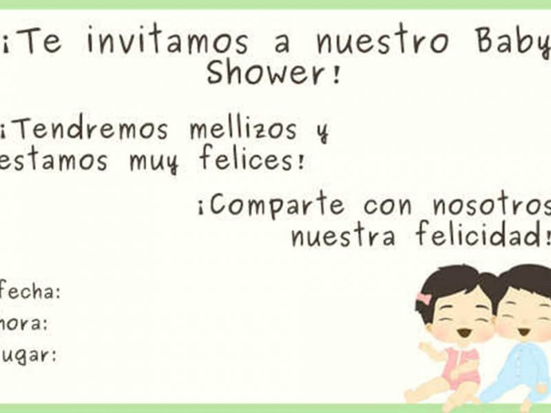 Invitacion de Baby Shower para Gemelos
