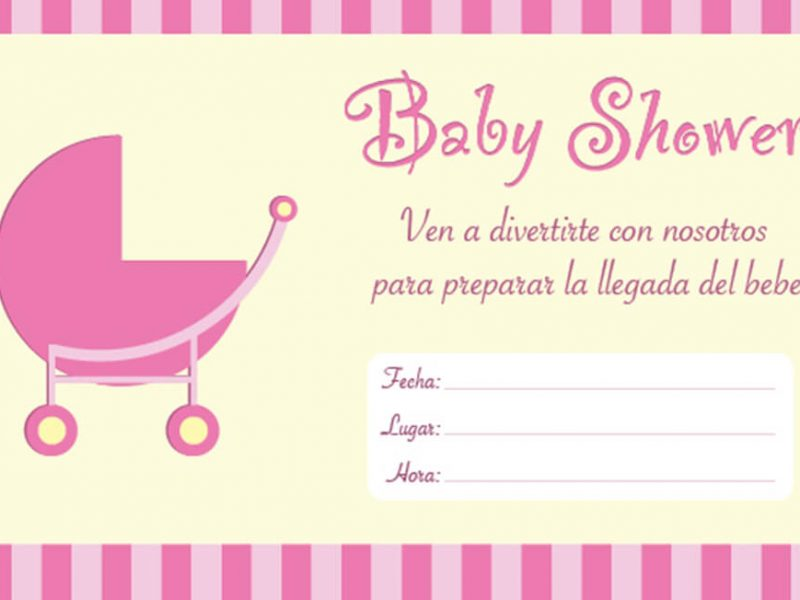 Invitaciones de Baby Shower Carricoche Rosa