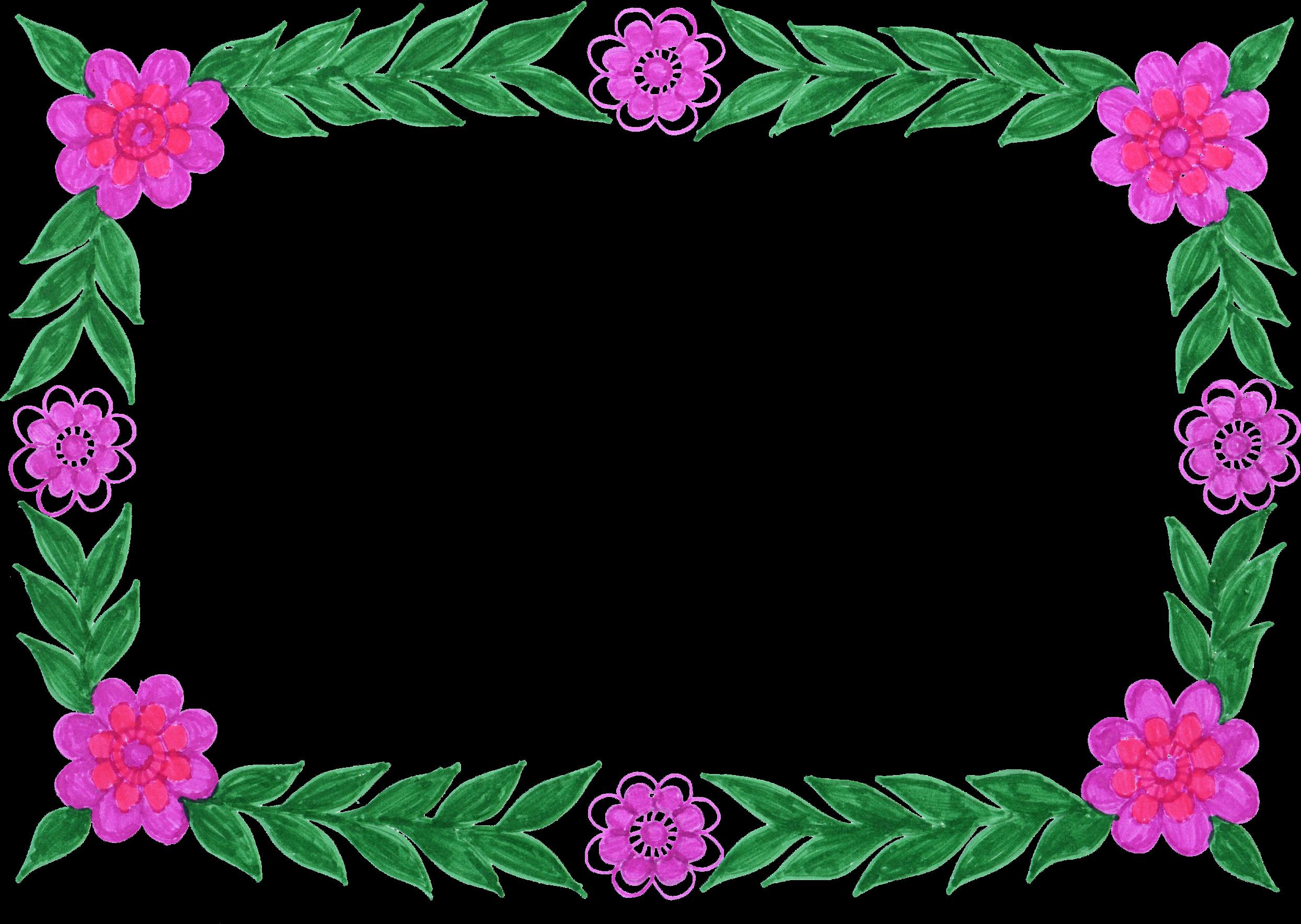 Descargar marcos de fotos con flores PNG