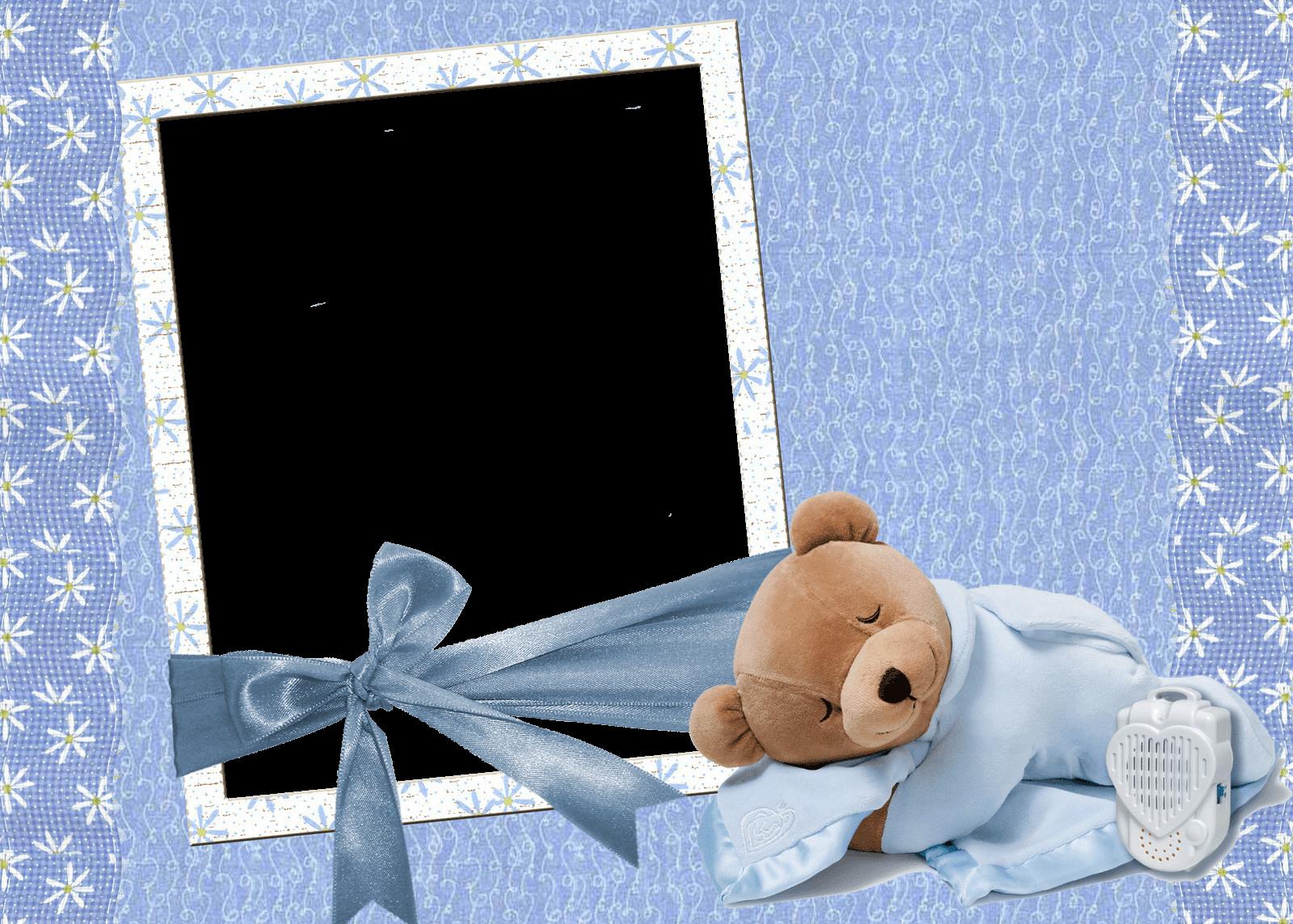 Marco Azul para foto de Bebe con Osito de Peluche | Descargar Marcos