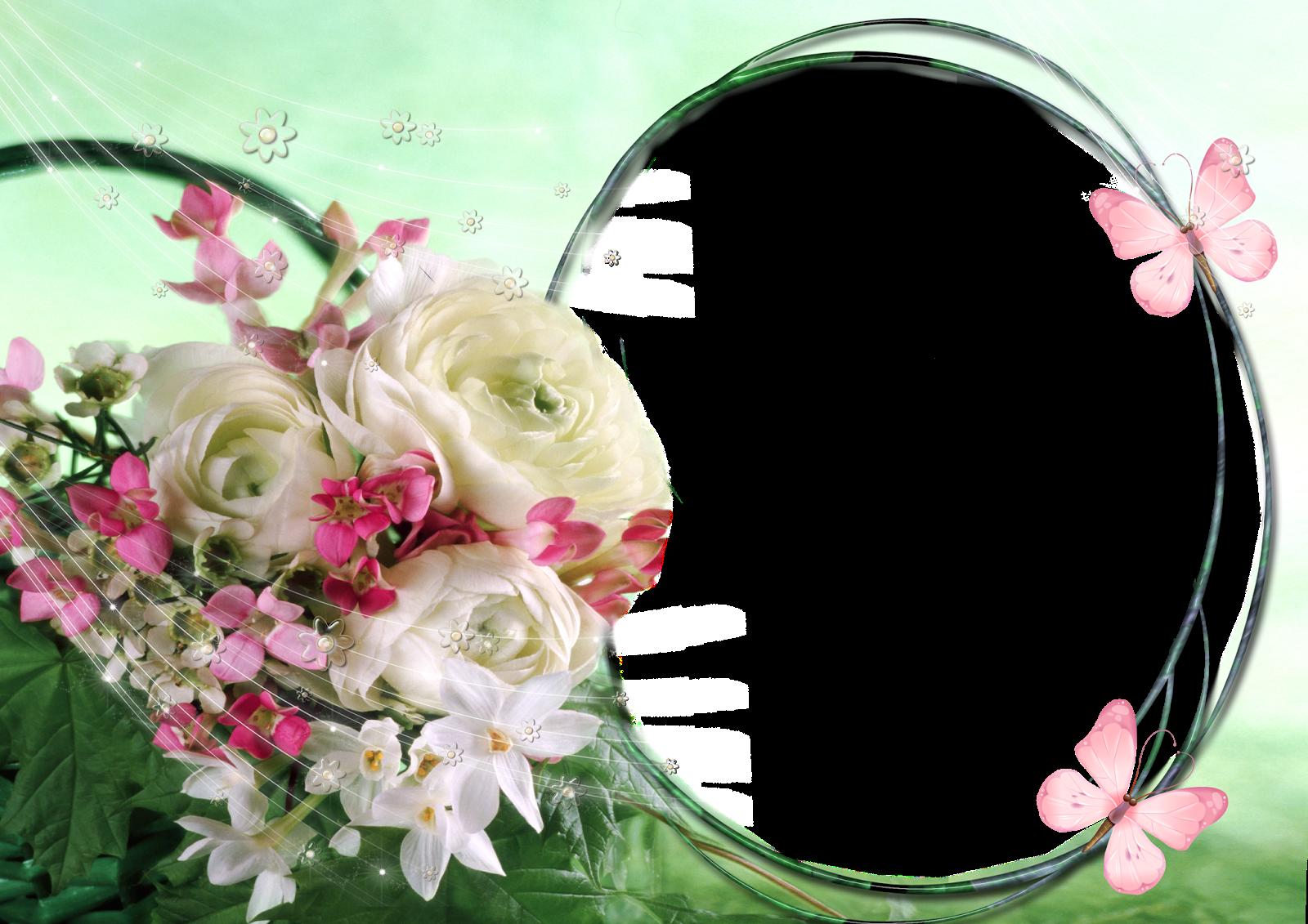 Marco de Flores Blancas y Rosas | Descargar Marcos