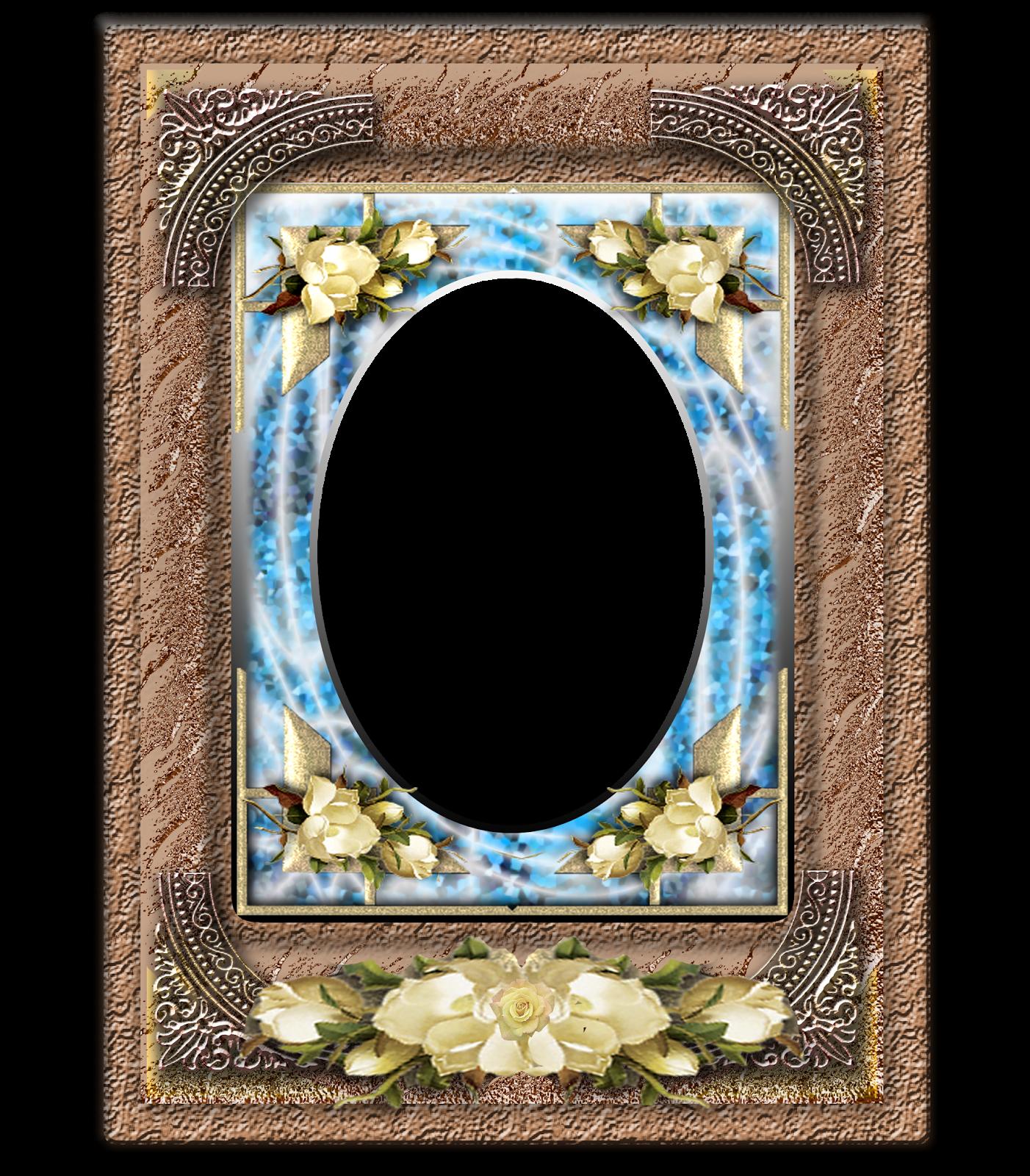 Marco de Flores Blancas y fondo marrón | Descargar Marcos