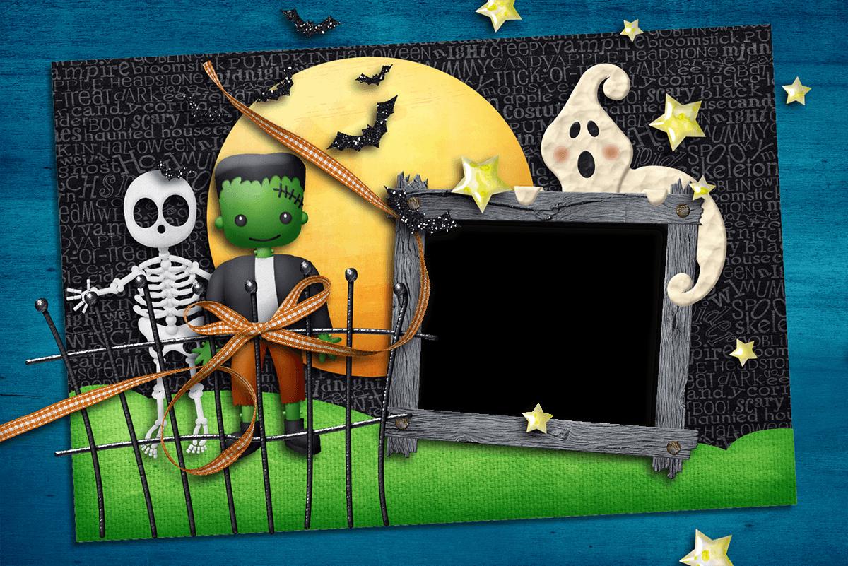 Marco para Felicitar Halloween con Fantasmas