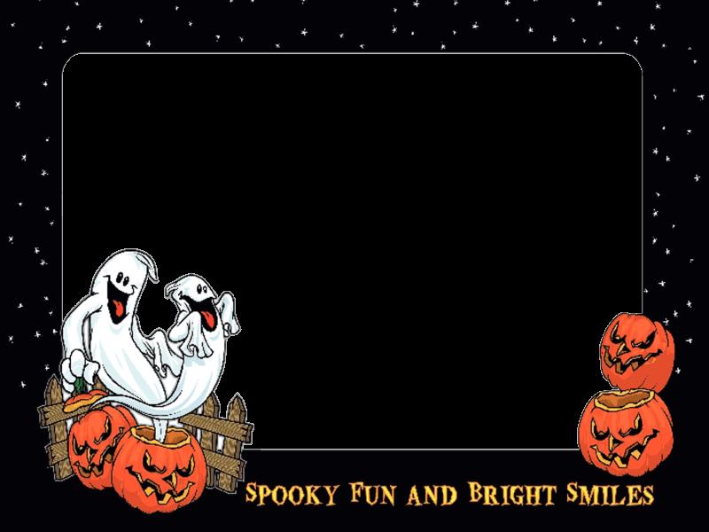 Marco Halloween con Fantasmas y Múrcielagos