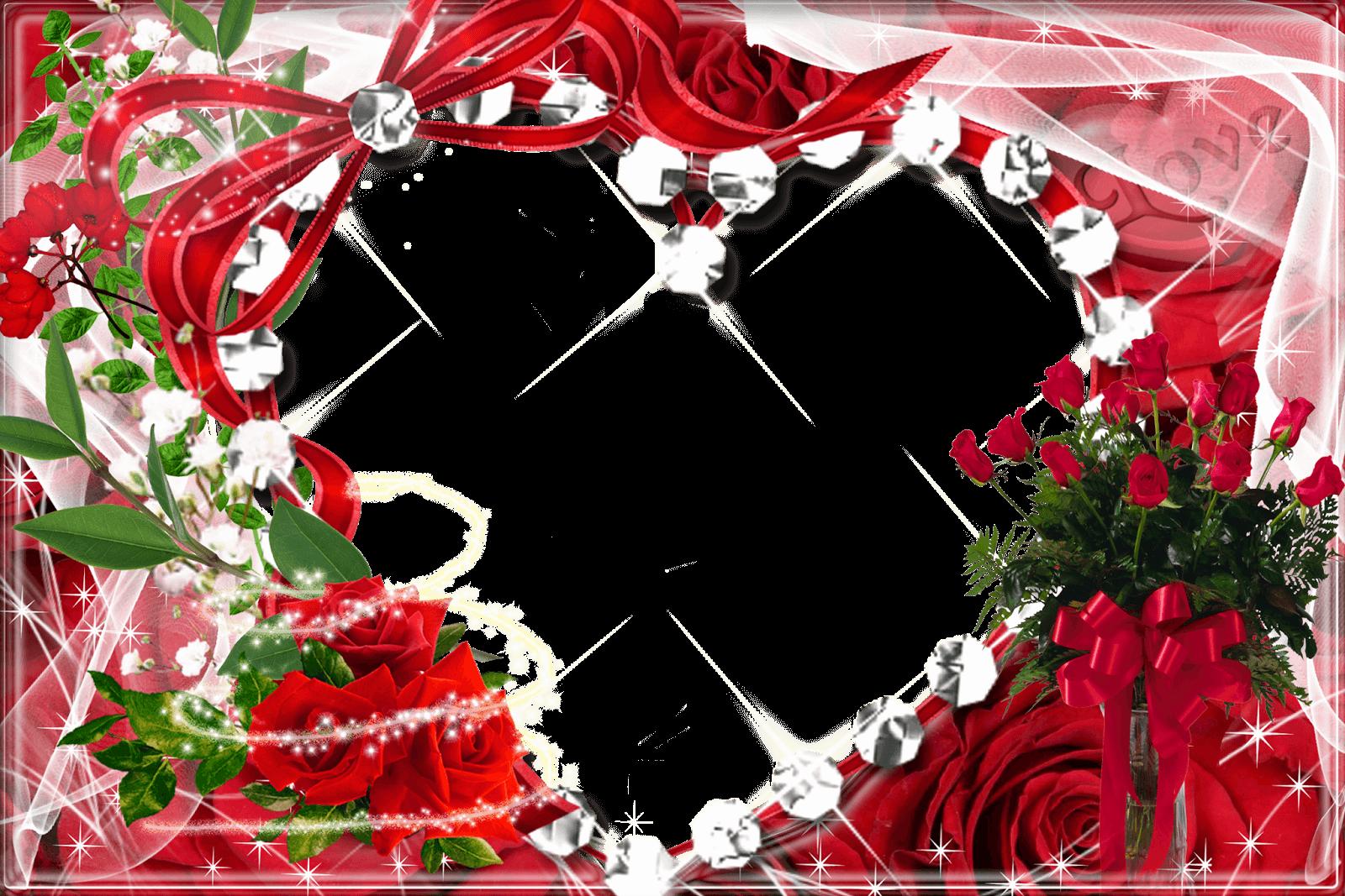 Marco de Foto con Forma de Corazón y Rosas | Descargar Marcos