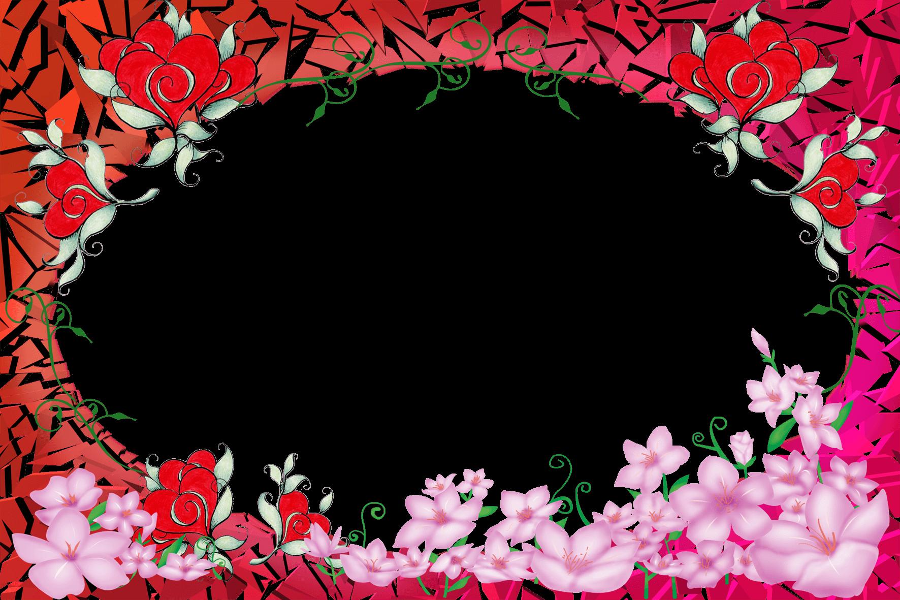 Marco Romántico Circular con Flores Rojas | Descargar Marcos